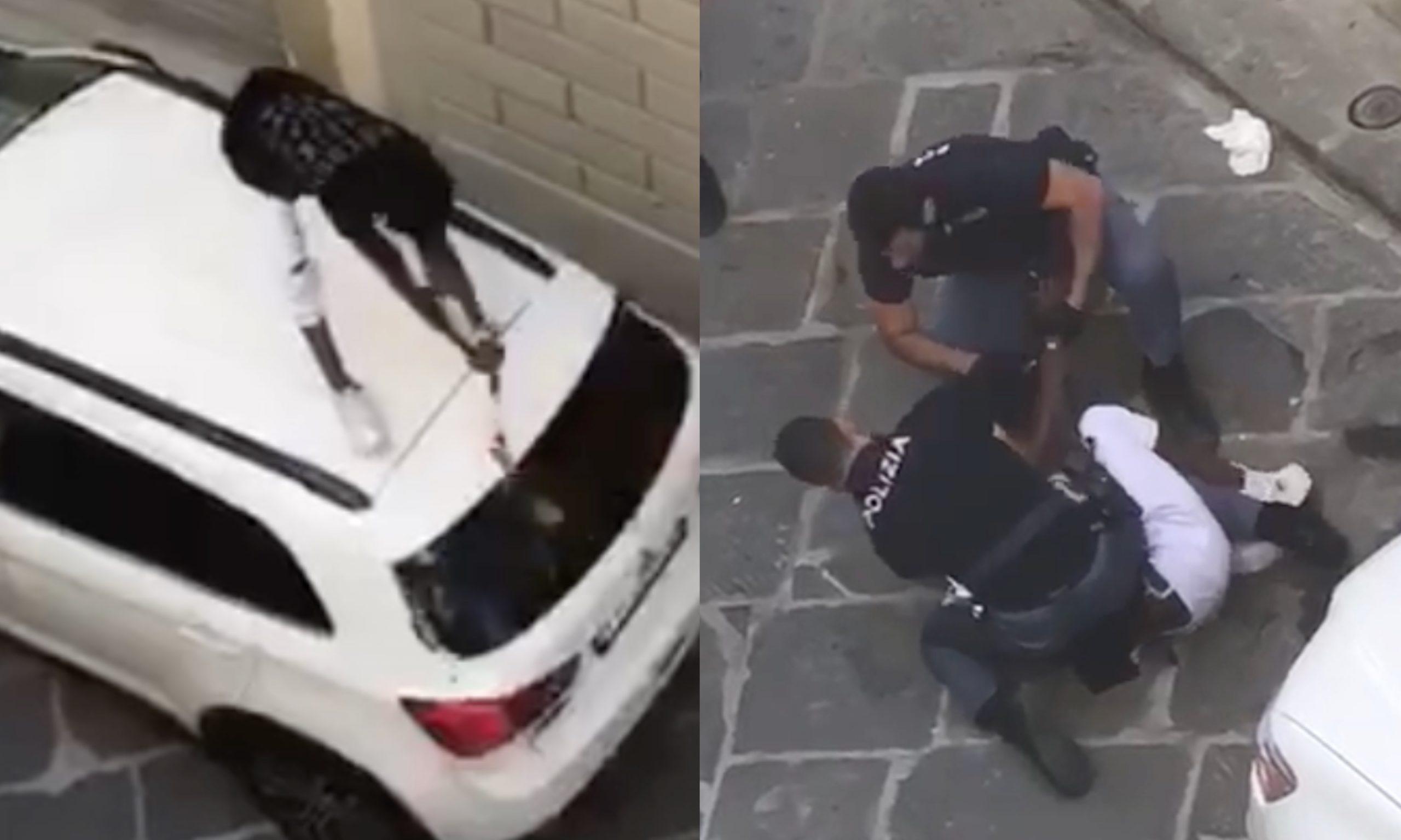 Firenze: immigrato armato frantuma i vetri di un'auto in centro – il Video
